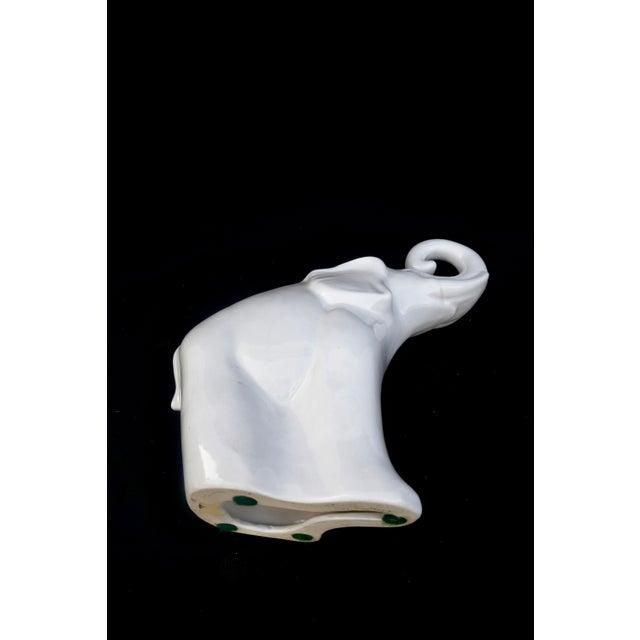 "Large White Porcelain Elephant Statue || 17"" Modern Boho Chic Figural Ceramic Elephant Indoor/Outdoor Art For Sale - Image 11 of 12"
