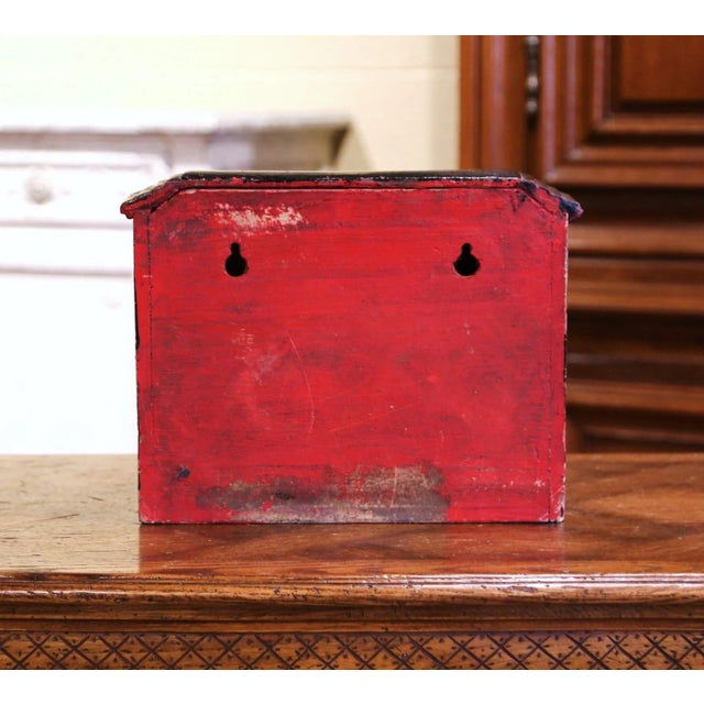 Metal 19th Century English Black Painted Cast Iron Wall Mailbox With Relief Decor For Sale - Image 7 of 10
