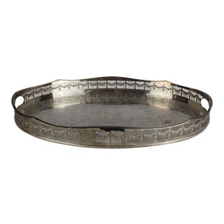 Silver Plate Neoclassical Tray For Sale