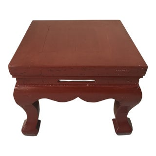 20th Century Chinese Low Red Lacquer Ming Side Table