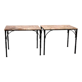 Vintage 1920s Addison Mizner Side or Console Tables in Marble and Wrought Iron - a Pair For Sale