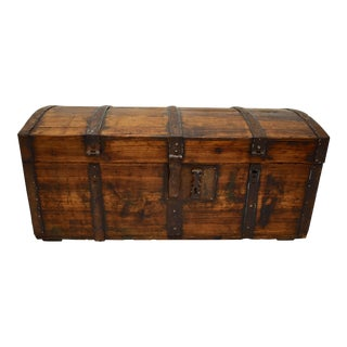 Pine Iron-Banded Dome Top Trunk For Sale