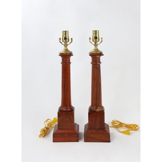 Wooden Column Lamp With a Cherry Stain For Sale - Image 9 of 10