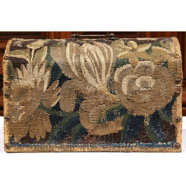 Bombe Wood Trunk Covered With 18th Century Aubusson Tapestry and Signed J. Lamy For Sale - Image 9 of 10