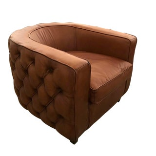 Round Leather Tufted Club Chair For Sale