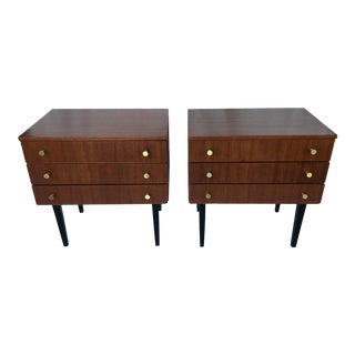 1960s Mid Century Teak and Brass Side Tables - a Pair For Sale
