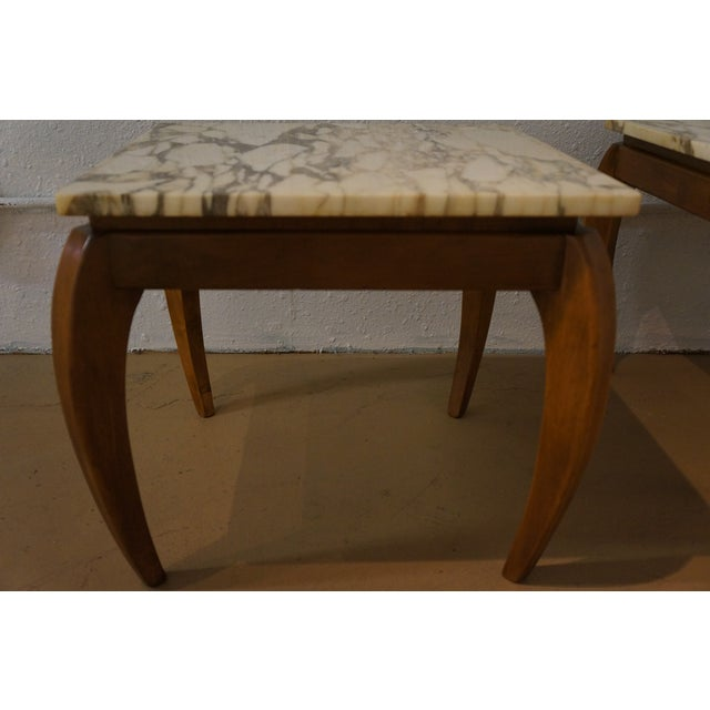 Mid-Century Marble and Walnut Side Tables - A Pair - Image 7 of 10
