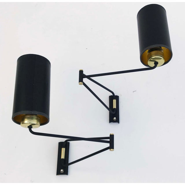 1960s 1960s Vintage Rene Mathieu Swing Arm Sconces - A Pair For Sale - Image 5 of 5