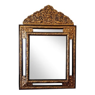 Monumental 19th Century Dutch Embossed Brass Mirror For Sale