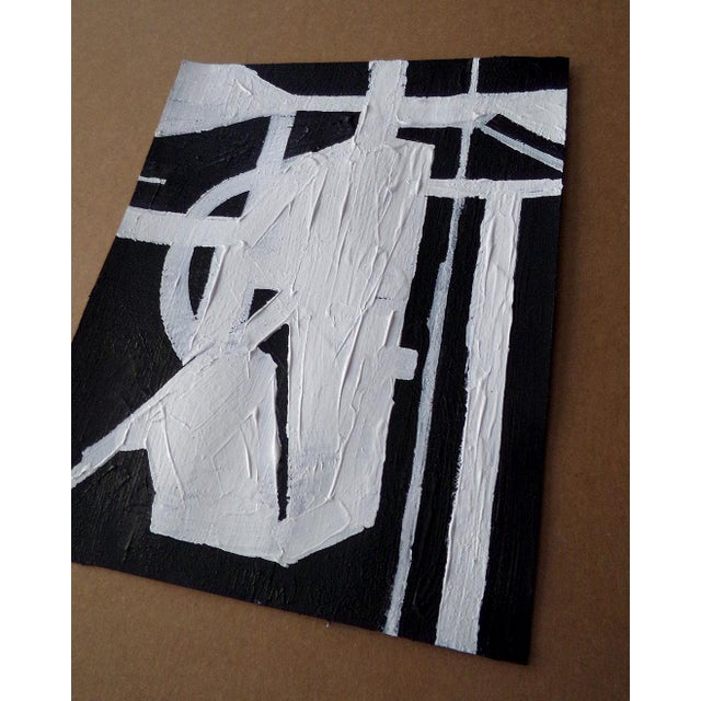 Contemporary Abstract Painting Original Black and White Contemporary Art by Brian Elston For Sale - Image 3 of 3
