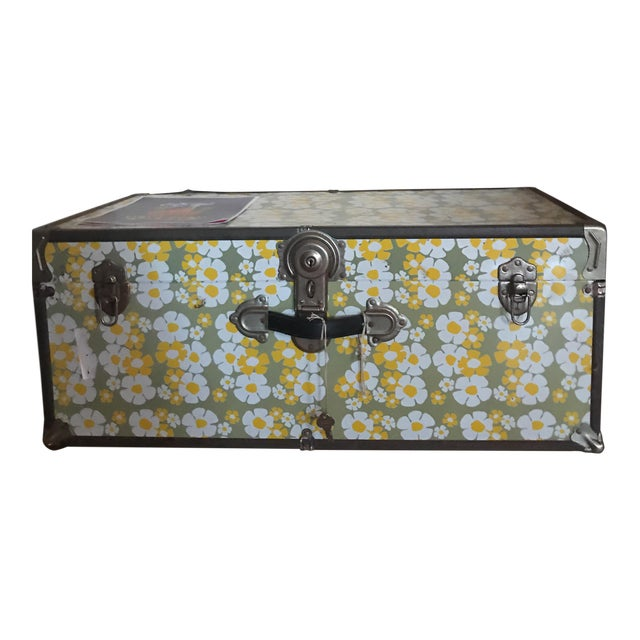 1960's Floral Locking Trunk - Image 1 of 3