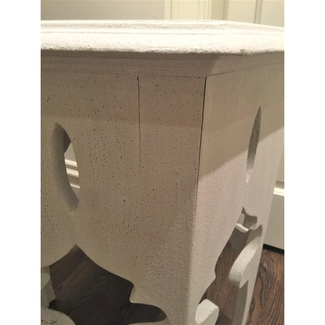 Moroccan Style White Wooden End Tables - a Pair - Image 8 of 10