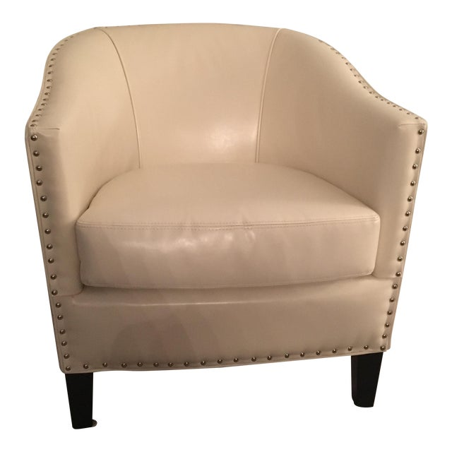 Ivory Leather Tub Chair - Image 1 of 5