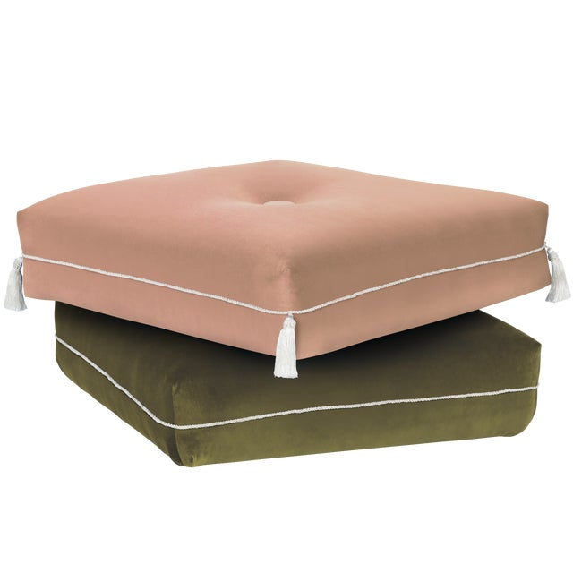 Boho Chic Two-Tone Turkish Ottoman, Pink & Olive For Sale - Image 3 of 3