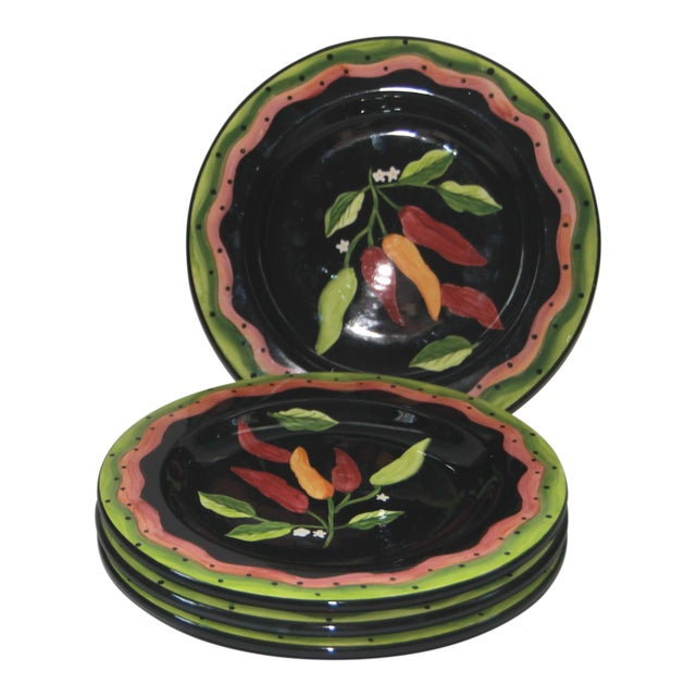 Laurie Gates Hand Painted Dessert Plates - Set 4 For Sale