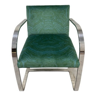 Brno Style Flat Bar Chair with Emerald Malachite Velvet