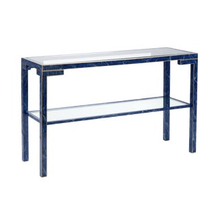 Faux Lapis Lacquered Console Table With Gold Trim and Glass Shelves For Sale