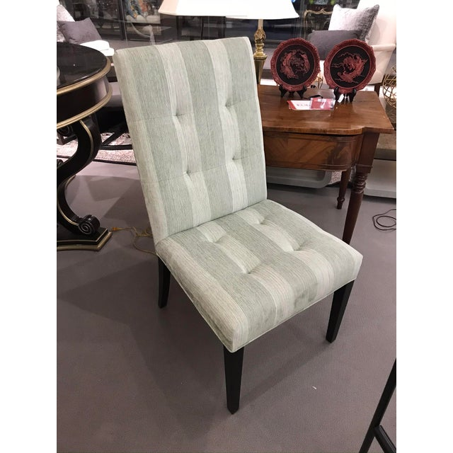 Robert Allen Green Stripe Tufted Chair For Sale In Detroit - Image 6 of 6