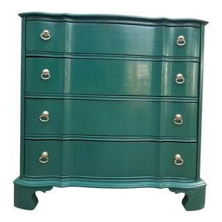 20th Century British Colonial Green Cherrywood Bachelor Chest