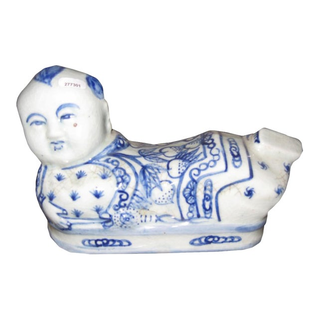 Blue & White Ceramic Head Rest For Sale