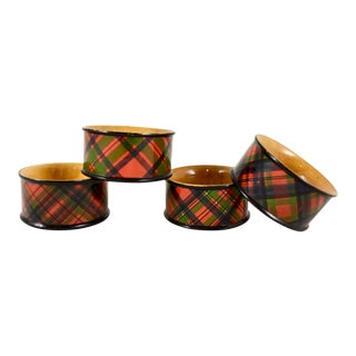 Victorian Mauchline Ware Sycamore Wood Tartan Napkin Rings, Set/4 For Sale