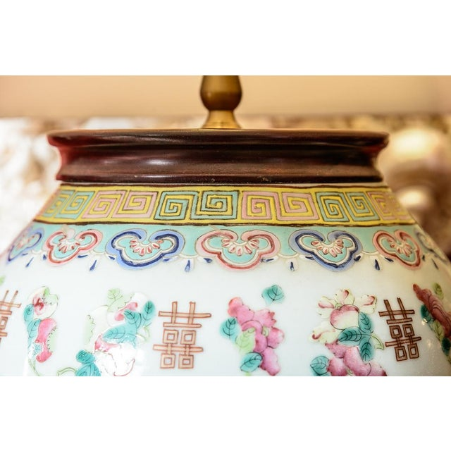 Mid 19th Century Large Asian Porcelain Table Lamp For Sale - Image 5 of 9