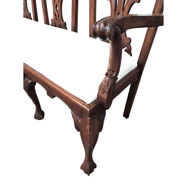 Antique Three Seat Upholstered Chippendale Bench Settee For Sale In Tampa - Image 6 of 8