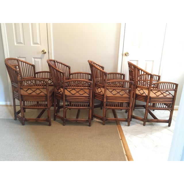 1970s 1970s Hollywood Regency Brighton Pavilion Style Bamboo Dining Set - 5 Pieces For Sale - Image 5 of 12