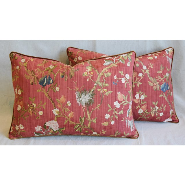 """Blue Italian Scalamandre Melograno Silk Feather/Down Pillows 26"""" X 18"""" - Pair For Sale - Image 8 of 13"""