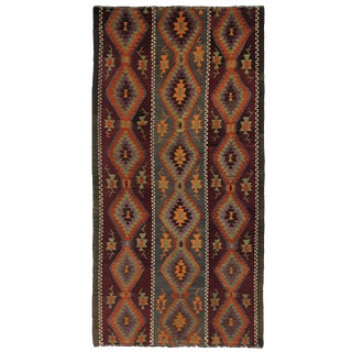 Vintage Evil Eye Kilim Flatweave Rug | 5'5 X 12 For Sale