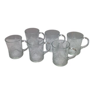 Vintage Clear Glass Christmas Tree Mugs - S/6 For Sale