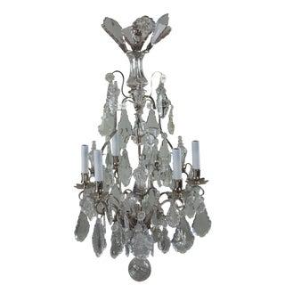 19th Century Nine-Light Crystal Chandelier Six-Light Arms Three Inner Lights For Sale