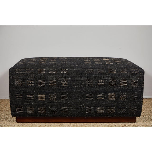 Contemporary Handwoven Indian Fabric Upholstered Ottoman For Sale - Image 3 of 10