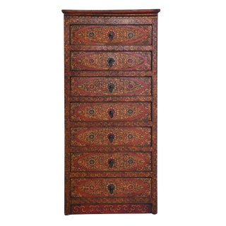 Tibetan Hand Painted Seven Drawer Tall Cabinet For Sale