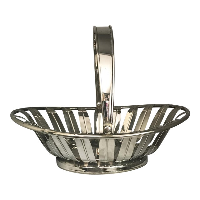 1950s Silverplate Leaf Motif Oblong Bread Basket With Handle For Sale