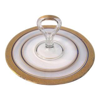 Vintage Gold & Navy Blue Glass Tidbit Plate For Sale