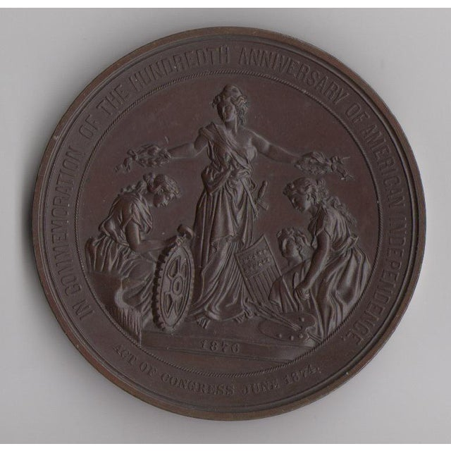 100 Years of American Independence Antique Bronze Sculptural Medallion - Image 2 of 3