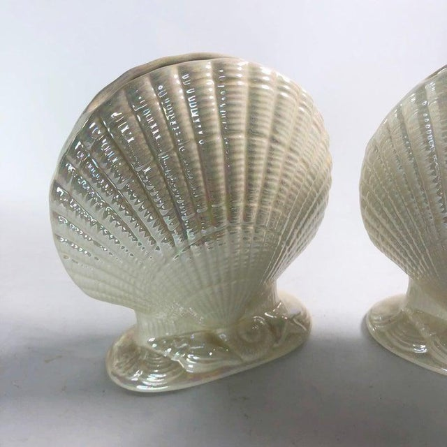 Mid-Century Modern Iridescent Clam Shell Vases - Set of 2 For Sale - Image 3 of 6