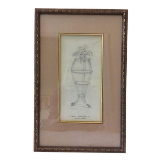 Pencil Drawing of Plant Stand For Sale