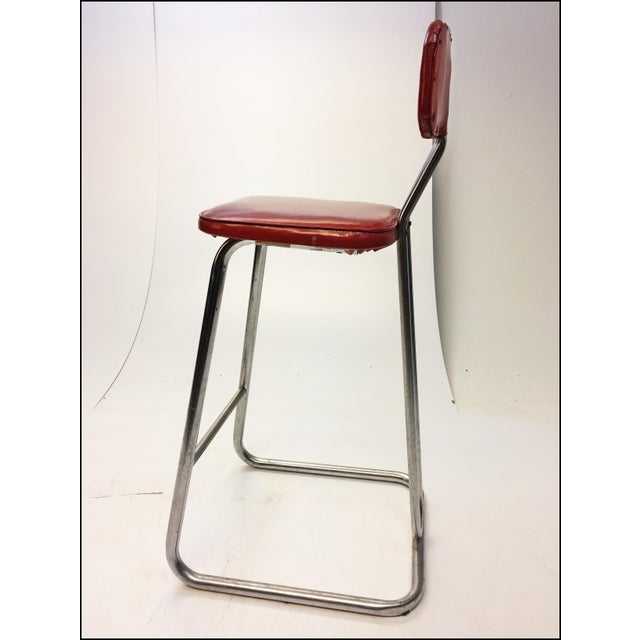 Mid Century Modern Red Vinyl Bar Stool - Image 6 of 11