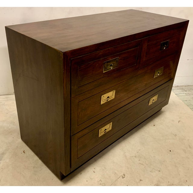 Pair of Campaign Style Chests Att. To Henredon For Sale In Atlanta - Image 6 of 9