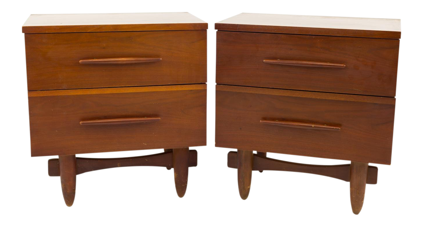 Mid Century Vintage Harmony House Formica Top Nightstands  A Pair