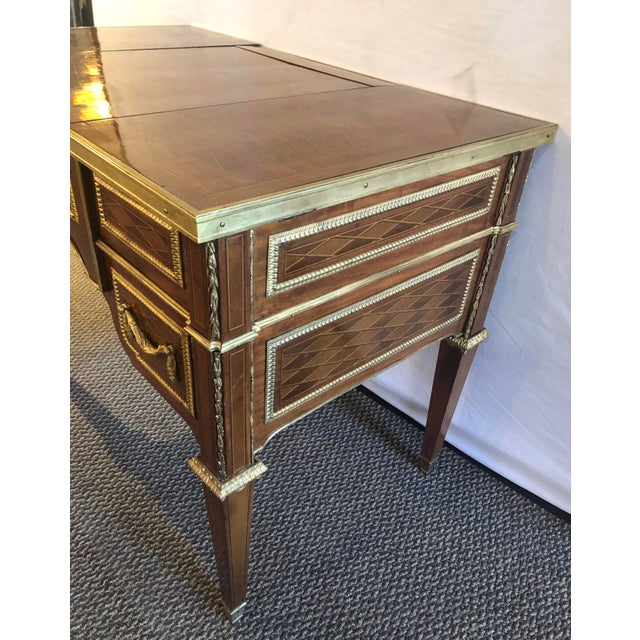 French Louis XVI Style Gilt Bronze Parquetry & Marquetry Dressing Table, Desk or Vanity For Sale - Image 3 of 13