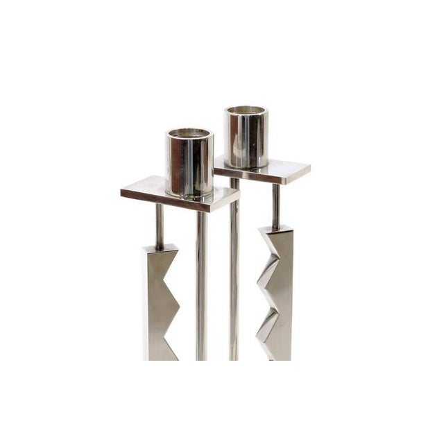 Reed and Barton Pair of Ettore Sottsass Silver Candlesticks for Swid Powell and Reed and Barton For Sale - Image 4 of 7