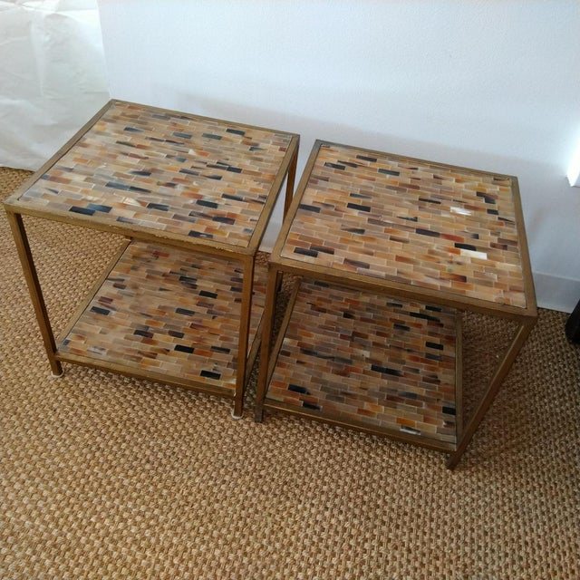 Mid-Century Modern Aged Gold Finish Square Bone Top Tables - A Pair For Sale - Image 3 of 6