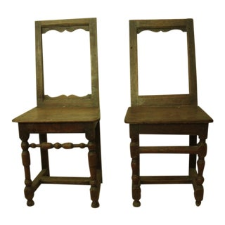 Late 18th Century Vintage Small French Oak Wooden Chairs- A Pair For Sale