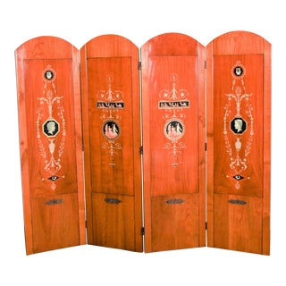 Italian Hand-Painted Fruitwood Screen - 4 Panels For Sale