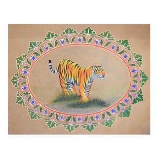 """Vintage Folk Art Painting """"Bengal Tiger, Jaipur"""""""
