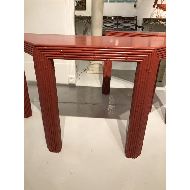 Late 20th Century Chinese Red Bamboo Style Console Tables - a Pair For Sale - Image 5 of 13