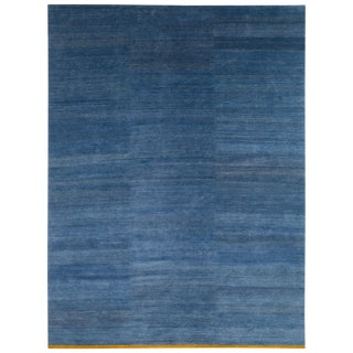 "Handwoven Mohair and Nettle Indigo Area Rug-9'x12"" For Sale"